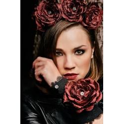 Bracelet Manchette Rose Étoilée