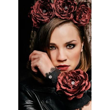 Bracelet Cuff Rose Étoilée