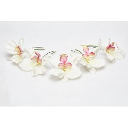 Hair Bun Pin White Orchids Lueur du Jour (5 pieces set)