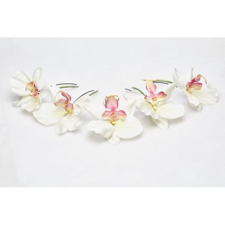 Hair Bun Pin White Orchids Lueur du Jour (5 pieces set)