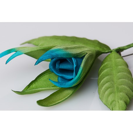 Brooch Bouton de Rose - Blue