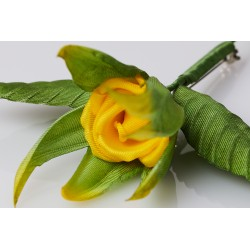 Brooch Bouton de Rose - Yellow