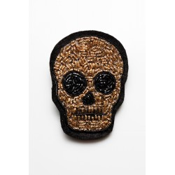 Gold - Black Skull Head Brooch