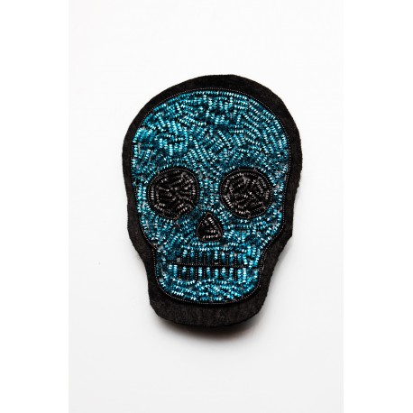 Turquoise - Black Skull Head Brooch