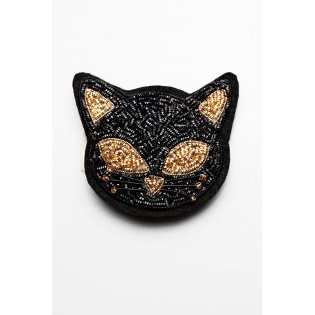 Black – Gold Cat Brooch