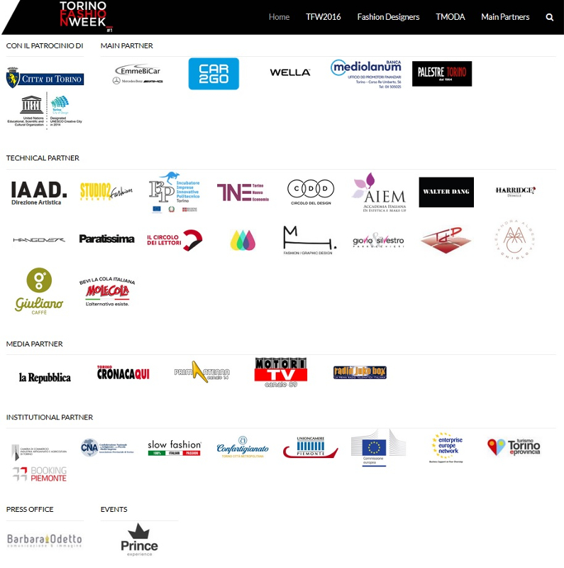 Sponsors fashion week torino 2016