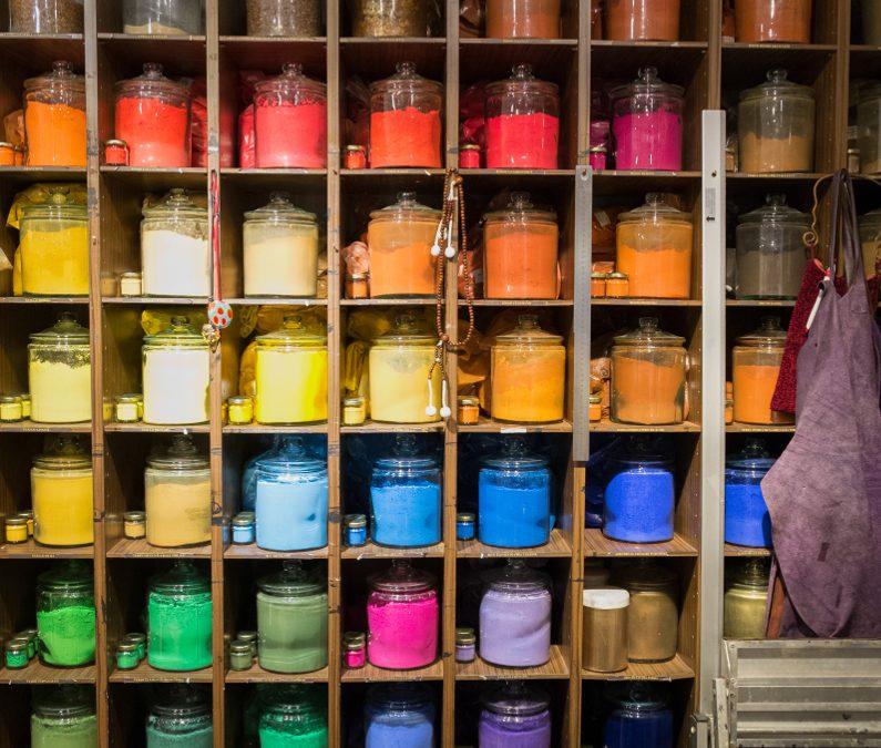 Comparatif peintures liquides et pigments de Venise