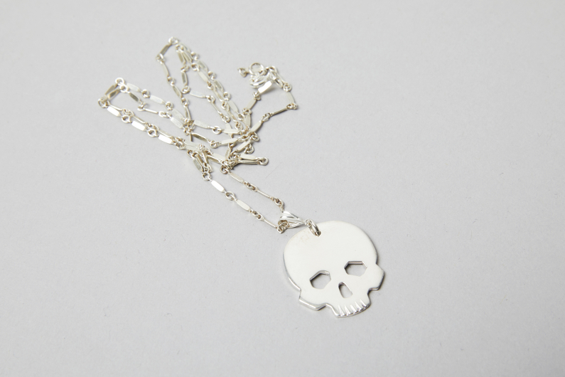 sterling silver skull head necklace