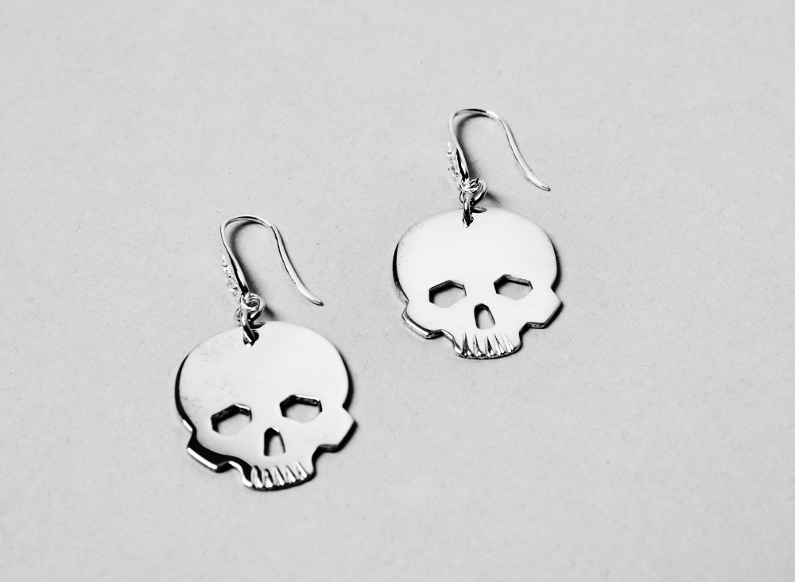 sterling silver earrings with skull heads