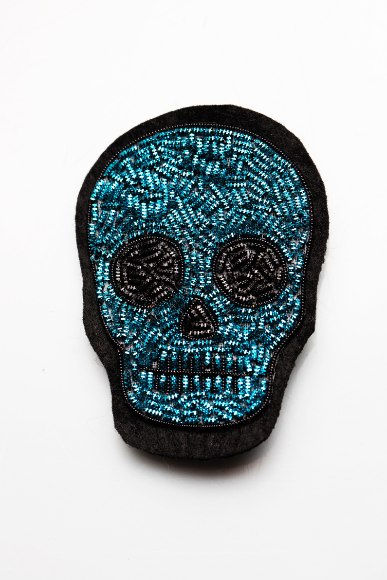 skull head gold embroidery