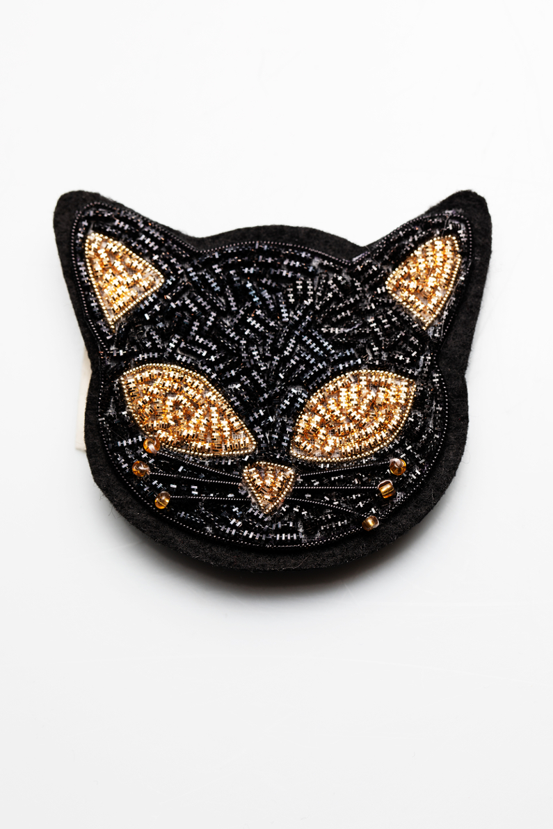 cat gold embroidery