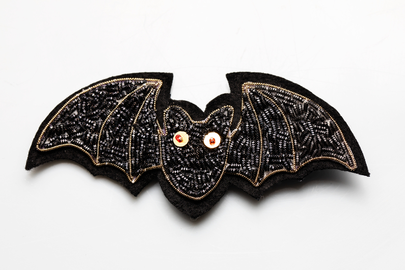 chauve souris broderie or