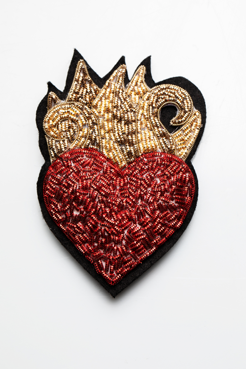 sacred heart gold embroidery
