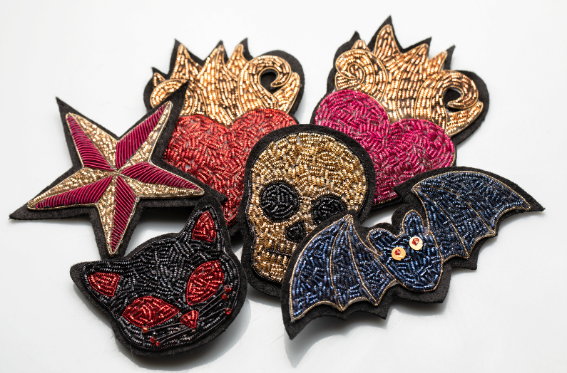 Goth Rock embroidered brooches